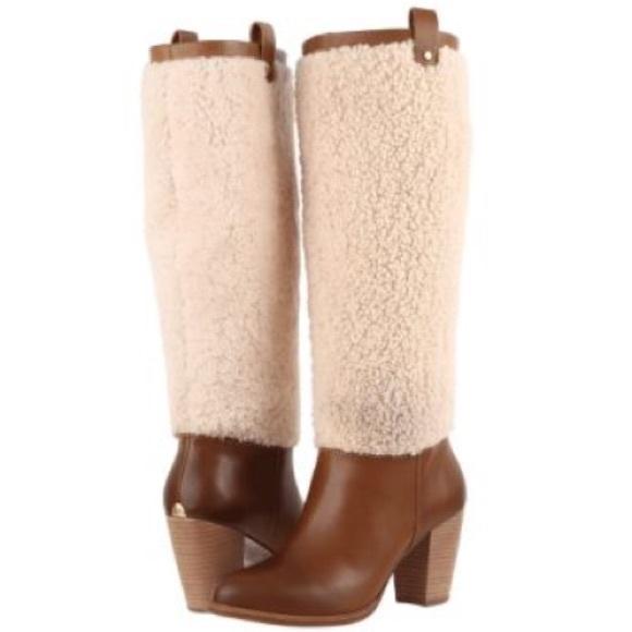 113ac7ed8f3 🌹New Ugg Ava chestnut Exposed Fur Tall boot Sz 9 NWT